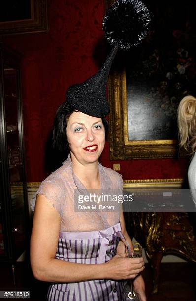 Isabella Blow attends the Miss Selfridge Fashion Show Party at the Wallace Collection on April 6 2005 in London