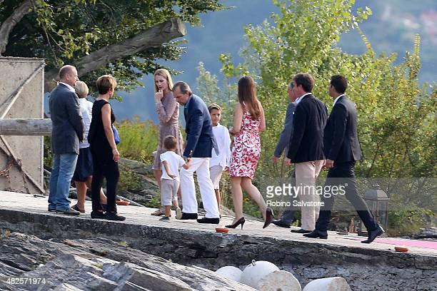 Isabella Borromeo and Ugo Brachetti Peretti arrive at the Pierre Casiraghi and Beatrice Borromeo wedding welcome party on July 31 2015 in Isola...