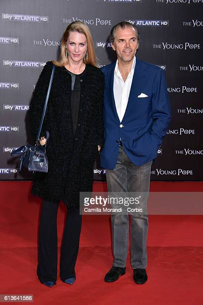 Isabella Borromeo and Ugo Brachetti Peretti walk the red carpet at 'The Young Pope' premiere on October 9 2016 in Rome Italy
