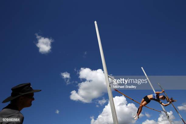 Isabella Brown from Auckland competes in the Under 18 Womens Pole Vault during the New Zealand Track Field Championships on March 9 2018 in Hamilton...