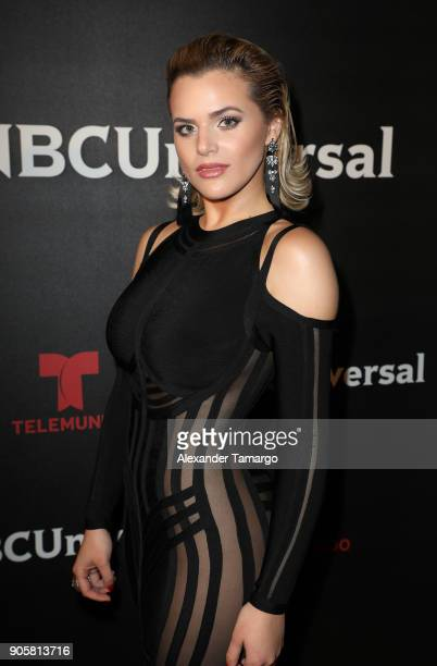 Isabella Castillo arrives at the Telemundo and NBC Universal Latin America NATPE Red Carpet Event at LIV at the Fontainebleau on January 16 2018 in...