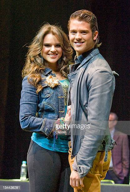 Isabella Castillo y Andres Mercado during press conference to present the show live Grachi on 01 december 2011 in Mexico City Mexico