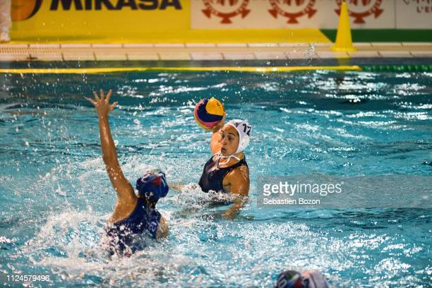 Isabella Chiappini of Italia and Audrey Daule of France during the Women's International Match Water Polo match between France and Italy on February...