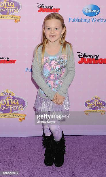 Isabella Cramp arrives at the Disney Channel's Premiere Party For 'Sofia The First Once Upon A Princess' at the Walt Disney Studios on November 10...