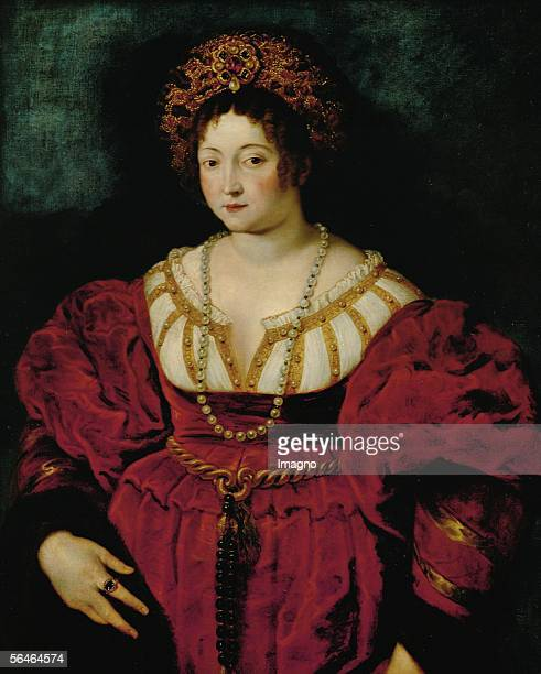 Isabella d'Este , wife of Margrave Francesco Gonzaga, Patroness of the Arts and able Administrator of Mantua. After a portrait by Titian. Oil on...