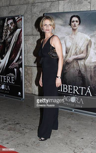 Isabella Ferrari attends the 'Agora' premiere at Ara Pacis on April 19 2010 in Rome Italy