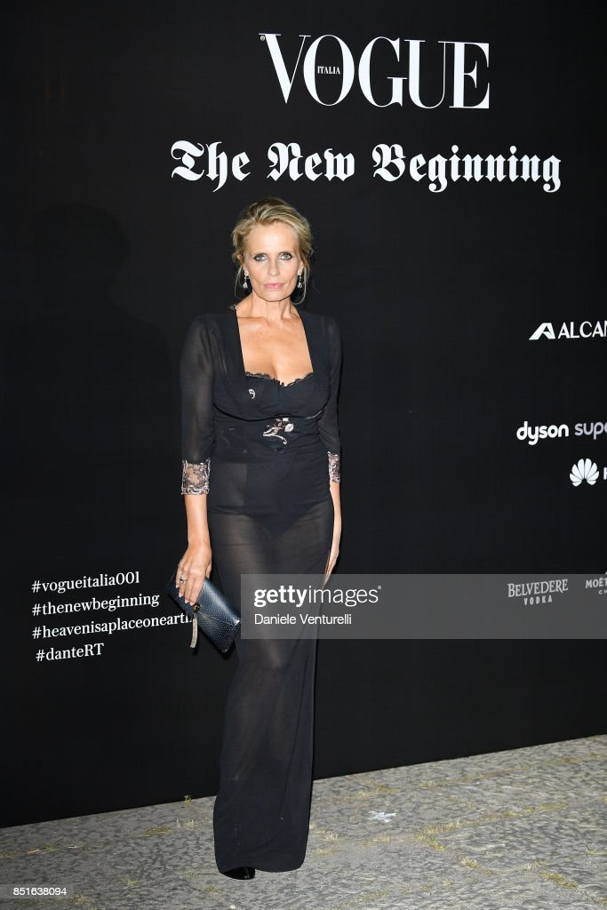 Isabella Ferrari attends the Vogue Italia 'The New Beginning' Party during Milan Fashion Week Spring/Summer 2018 on September 22, 2017 in Milan, Italy.