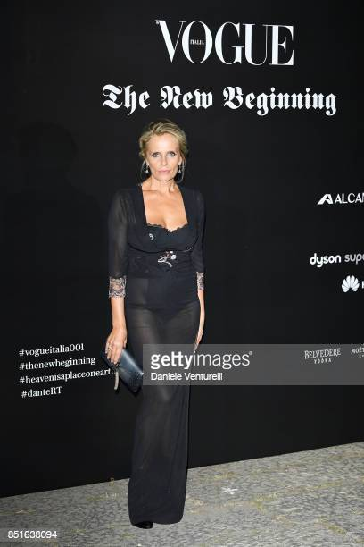 Isabella Ferrari attends the Vogue Italia 'The New Beginning' Party during Milan Fashion Week Spring/Summer 2018 on September 22 2017 in Milan Italy