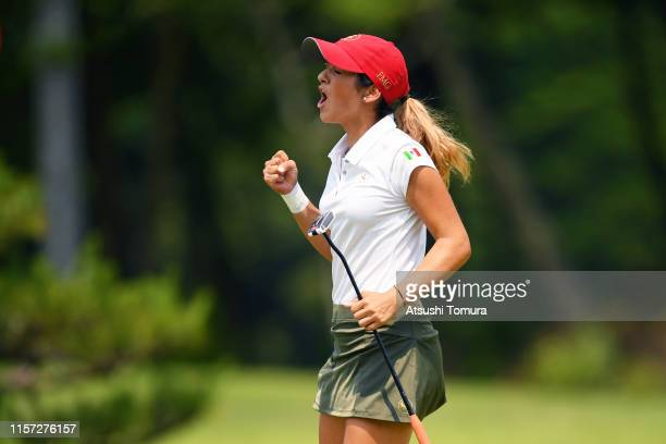 Isabella Fierro of Mexico celebrates the birdie on the 18th green during the final round of the Toyota Junior Golf World Cup at Chukyo Golf Club...