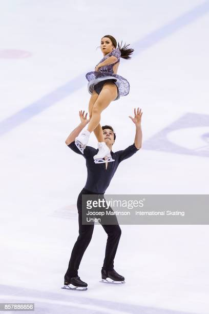Isabella Gamez and Ton Consul of Spain compete in the Pairs Short Program during day one of the ISU Junior Grand Prix of Figure Skating at Olivia Ice...