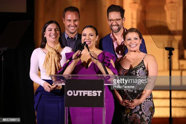 Isabella Gomez Brent Miller Gloria Calderon Kellett Todd Grinnell and Justina Machado speak onstage at the 13th Annual Outfest Legacy Awards at...