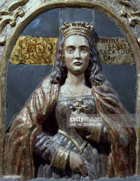 Isabella I of Castile known as Isabella the Catholic Queen of Castile and Leon detail of wooden altar Peruvian folk art