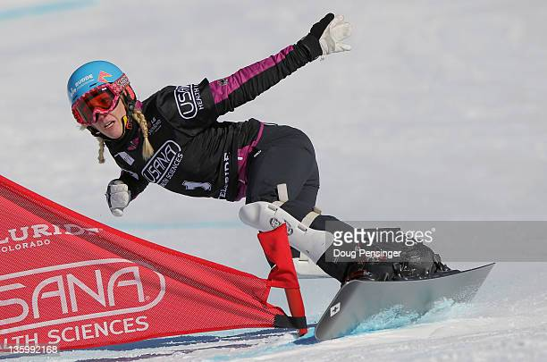 Isabella Laboeck of Germany rides to seventh place in the ladies' parallel giant slalom at the LG Snowboard FIS World Cup on December 15 2011 in...