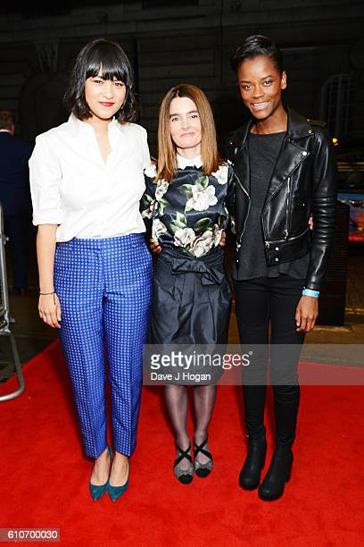 Isabella Laughland Shirley Henderson and Letitia Wright attend a charity screening of 'Urban Hymn' at The Curzon Mayfair on September 27 2016 in...