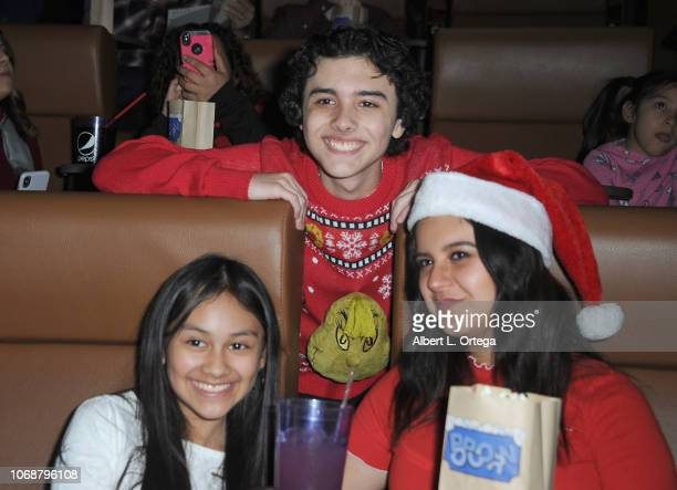 Isabella Leon Hunter Payton and Amber Romero attend Hunter Payton And The Shoe Crew Holiday Charity Fundraiser Screening of Illumination's 'The...
