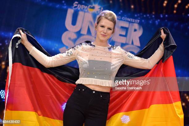 Isabella 'Levina' Lueen poses after winning the 'Eurovision Song Contest 2017 Unser Song' show on February 9 2017 in Cologne Germany
