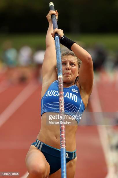 Isabella Murrell competes in the Womens Pole Vault during the New Zealand Track Field Championships on March 11 2018 in Hamilton New Zealand