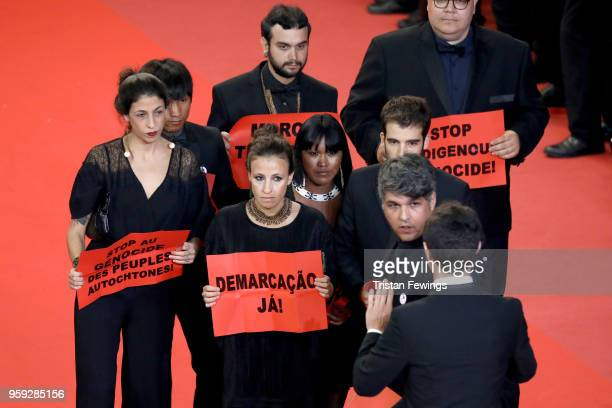 Isabella Nader Ihjac Kraho director Renee Nader Messora Koto Kraho director Joao Salaviza and producer Ricardo Alves Jr from the film 'The Dead And...