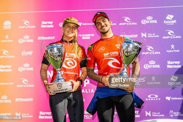 Isabella Nichols and two-time WSL Champion Gabriel Medina finalists of the Rip Curl Newcastle Cup presented by Corona on April 10, 2021 in Newcastle,...