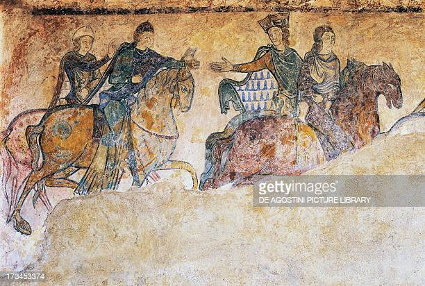 Isabella of Angouleme Eleanor of Aquitaine and two Squires fresco Chapel of St Radegund Chinon Centre France Detail