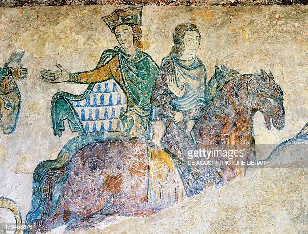Isabella of Angouleme Eleanor of Aquitaine fresco Chapel of St Radegund Chinon Centre France Detail
