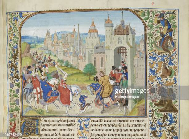 Isabella of France welcomed by her brother Charles IV to Paris Miniature from the Grandes Chroniques de France by Jean Froissar ca 14701475 Found in...