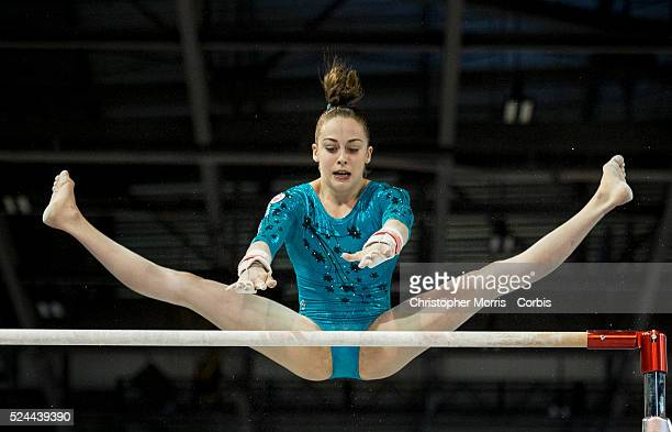 Isabella Onyshyko of Canada on the uneven bars during the women's all around artistic gymnastics competition at the 2015 PanAm Games in Toronto