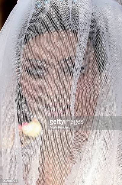 Isabella Orsini of Italy photographed before her wedding with Edouard de Ligne de la Tremoille at Antoing church on September 5 2009 in Antoing...