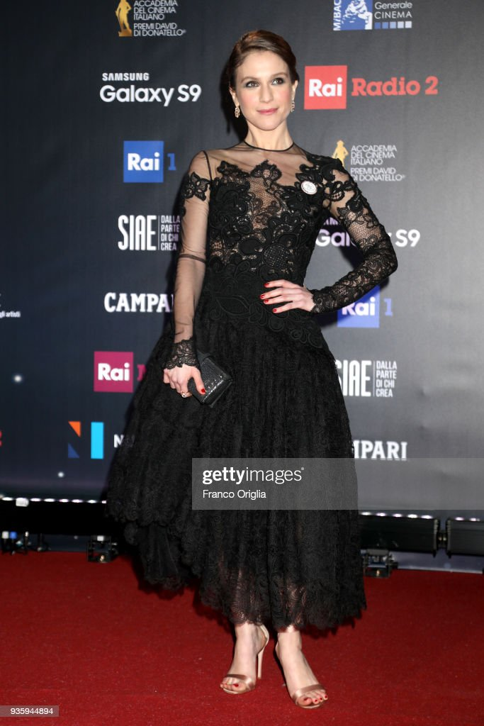 Isabella Ragonese walks a red carpet ahead of the 62nd David Di Donatello awards ceremony on March 21, 2018 in Rome, Italy.