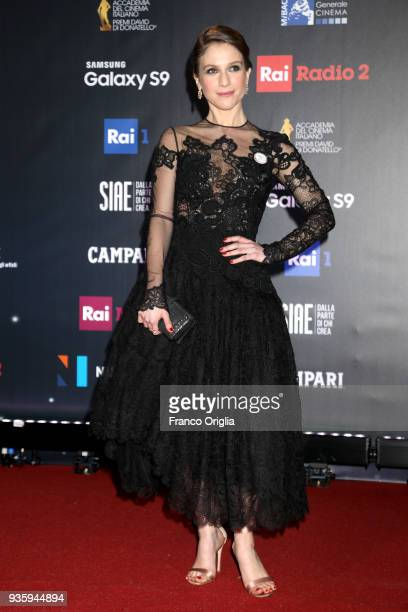 Isabella Ragonese walks a red carpet ahead of the 62nd David Di Donatello awards ceremony on March 21 2018 in Rome Italy