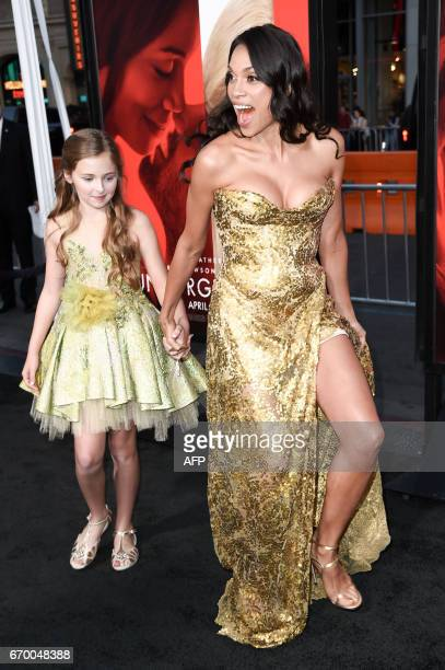 Isabella Rice and Rosario Dawson attend the premiere of the dramatic thriller Unforgettable at the TCL Chinese Theater in Hollywood California on...