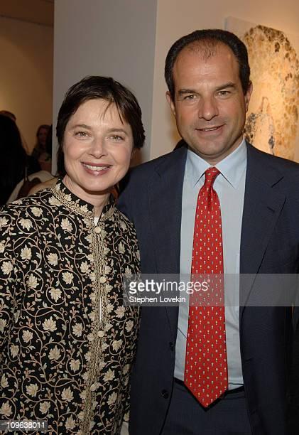 "Isabella Rossellini and Massimo Ferragamo during Salvatore Ferragamo Hosts Event to Inaugurate The ""Origin - Mother and Child"" Art Exhibit in New..."