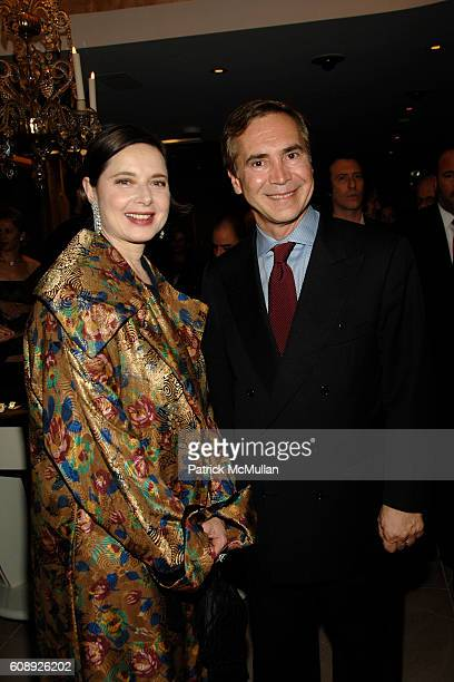 Isabella Rossellini and Thierry Chaunu attend LEVIEV Diamond Jewelry Collection Unveiling Event at Madison Avenue on November 13 2007 in New York City