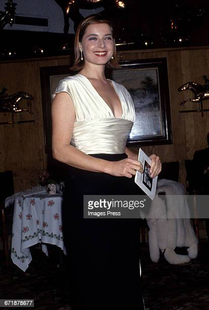 Isabella Rossellini attends Truman Capote's Black White Ball Recreation hosted by Princess Yasmin Aga Khan at Tavern on the Green circa 1991 in New...
