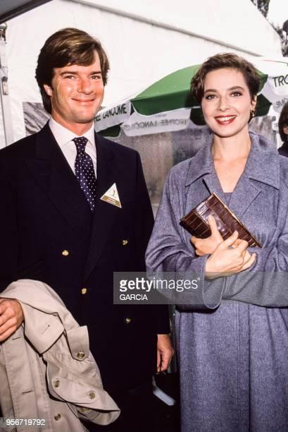 Isabella Rossellini et Roberto Rossellini lors du Trophée Lancôme à SaintNomlaBretèche en septembre 1988 France
