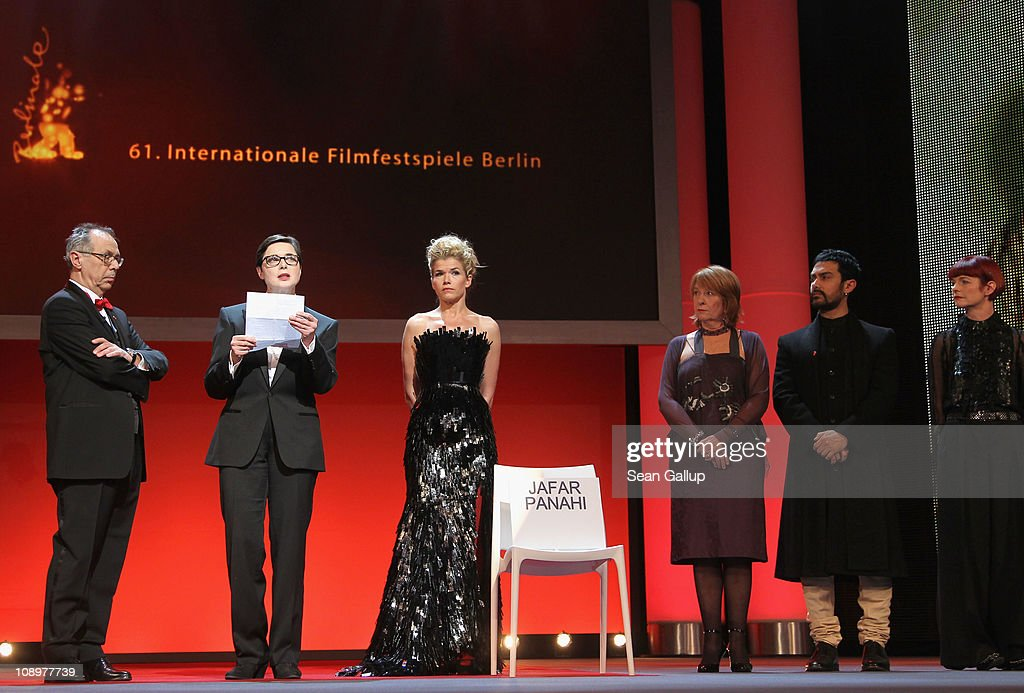 Isabella Rossellini reads a letter of Iranian director and jury member Jafar Panahi who sits in prison at the grand opening ceremony during the opening day of the 61st Berlin International Film Festival at Berlinale Palace on February 10, 2011 in Berlin, Germany.