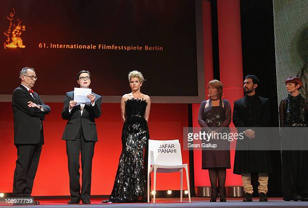 Isabella Rossellini reads a letter of Iranian director and jury member Jafar Panahi who sits in prison at the grand opening ceremony during the...