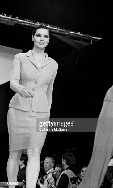 Isabella Rossellini walks the runway at a fashion show in 1994 in New York City New York