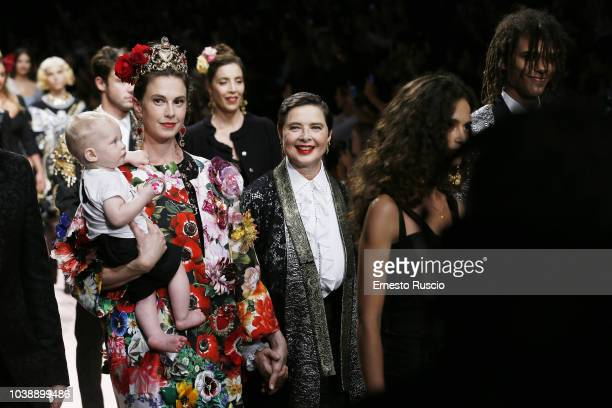 Isabella Rossellini walks the runway at the Dolce Gabbana show during Milan Fashion Week Spring/Summer 2019 on September 23 2018 in Milan Italy