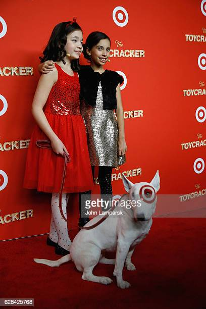 Isabella Russo Kylie Cantrall and dog Target attend Target's Toycracker Premiere event at Spring Studios on December 7 2016 in New York City