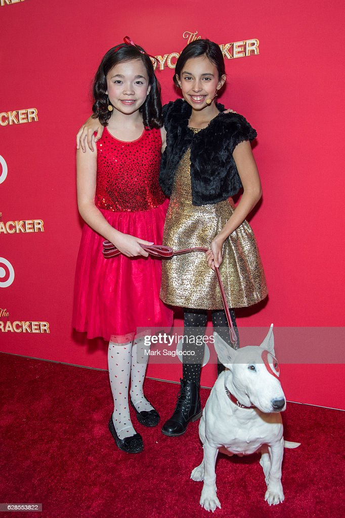 Isabella Russo, Kylie Cantrall and Target Mascot Bull Terrier Bullseye attend Target's Toycracker Premiere Event at Spring Studios on December 7, 2016 in New York City.