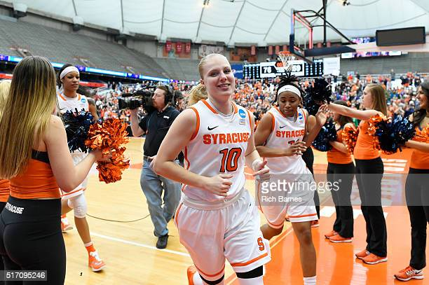 Isabella Slim of the Syracuse Orange reacts while leaving the court following the game against the Albany Great Danes in the second round of the 2016...