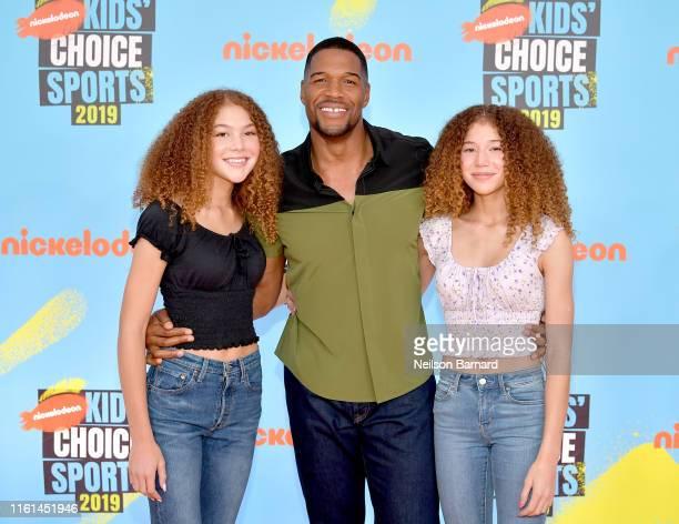 Isabella Strahan host Michael Strahan and Sophia Strahan attend Nickelodeon Kids' Choice Sports 2019 at Barker Hangar on July 11 2019 in Santa Monica...