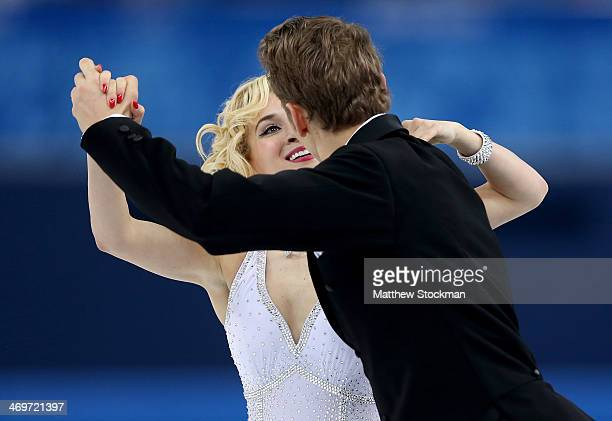 Isabella Tobias and Deividas Stagniunas of Lithuania compete during the Figure Skating Ice Dance Short Dance on day 9 of the Sochi 2014 Winter...