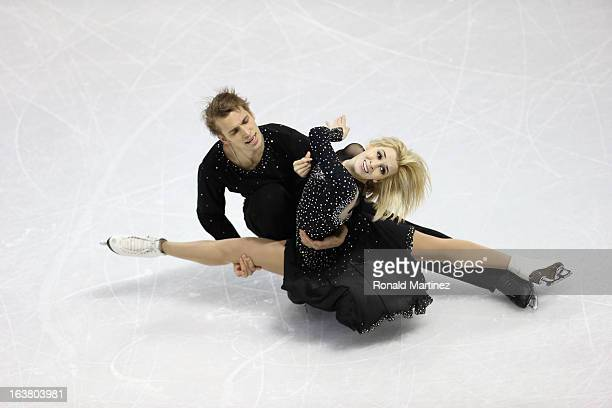 Isabella Tobias and Deividas Stagniunas of Lithuania compete in the Ice Dance Free Dance during the 2013 ISU World Figure Skating Championships at...