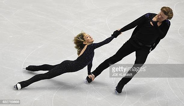 Isabella Tobias and Ilia Tkachenko of Israel compete compete during the Ice Dance / Short Dance program of the European Figure Skating Championships...