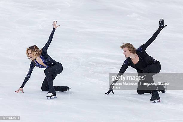 Isabella Tobias and Ilia Tkachenko of Israel compete during Ice Dance Short Dance on day one of the Trophee de France ISU Grand Prix of Figure...