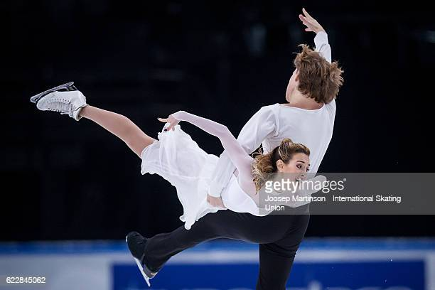 Isabella Tobias and Ilia Tkachenko of Israel compete during Ice Dance Free Dance on day two of the Trophee de France ISU Grand Prix of Figure Skating...
