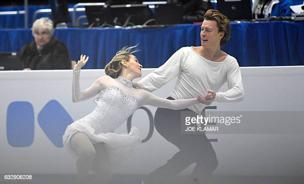 Isabella Tobias and Ilia Tkachenko of Israel compete during the ice dance free dance competition of the European Figure Skating Championship in...