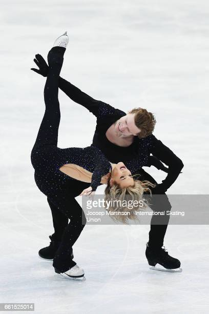 Isabella Tobias and Ilia Tkachenko of Israel compete in the Ice Dance Short Dance during day three of the World Figure Skating Championships at...
